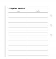 Náplň do diáře Filofax - osobní, adresář, 20 listů
