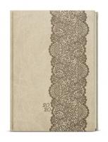 Denní diář Adam-vivella s ražbou - B6, béžový, krajka