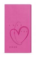 Týdenní diář Jakub-vivella s ražbou - kapesní, růžový, Srdce