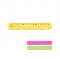 Plastové barevné pravítko Deli Pioneer Fluo EG00102 - 15 cm, transparentní, mix barev