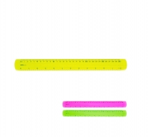 Plastové barevné pravítko Deli Pioneer Fluo EG00302 - 30 cm, transparentní, mix barev