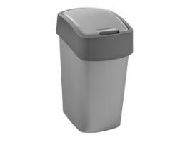 Výklopný koš Curver Flip Bin 10 l - plastový, stříbrný/šedý