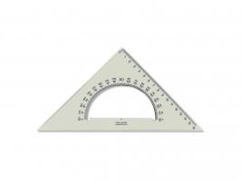 Plastové pravítko trojúhelník s úhloměrem Koh-I-Noor - 16 cm, transparentní kouřové