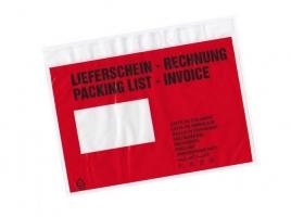 Vícejazyčná samolepící kapsa C5 - transportní, 165x225 mm, transparentní červená