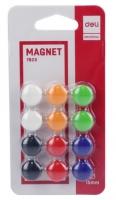 Plastové magnety Deli E7823 - průměr 15 mm, mix barev, 12 ks