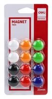 Plastové magnety Deli E7824 - průměr 20 mm, mix barev, 12 ks