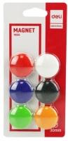 Plastové magnety Deli E7825 - průměr 30 mm, mix barev, 6 ks