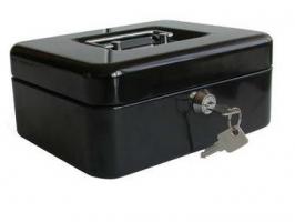 Přenosná pokladna - uzamykatelná, kovová, 300x240x90 mm, mix barev