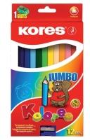 Pastelky Kores Kolores Jumbo - trojhranné, 12 ks + ořezávátko zdarma