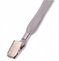 Šňůrka na krk LILY - s klipsem, šedá, 50 ks
