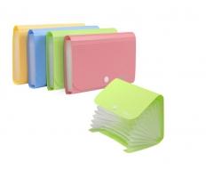 Spisové desky s drukem A6 Deli Rio E5561 - 13 kapes, plastové, růžové