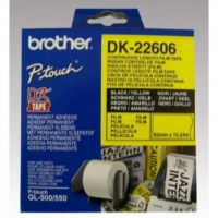 Brother filmová role 62mm x 15.24m, žlutá, 1 ks, DK22606, pro tiskárny štítků