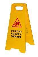 Výstražná tabule Pozor, mokrá podlaha - plastová, žlutá, výška 57 cm