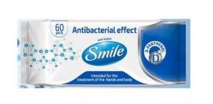 Antibakteriální vlhčené ubrousky na ruce Smile - 60 ks