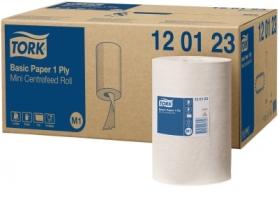 Papírové utěrky v roli Tork Basic 120123 - středové odvíjení, jednovrstvé, bělený recykl, 120 m, systém M1, 11 rolí