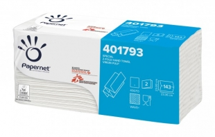 Skládaný papírový ručník Papernet Special Z-Fold 401793 - dvouvrstvý, 23x23,4 cm, 100% celulóza, 2860 ks - DOPRODEJ