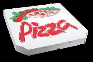 Krabice na pizzu - 34,5x34,5x3 cm, s motivem, bílá, 100 ks