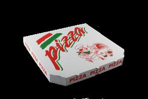 Krabice na pizzu - 34,5x34,5x4 cm, s motivem, bílá, 100 ks