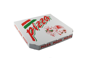 Krabice na pizzu - 36x36x4 cm, s motivem, bílá, 100 ks