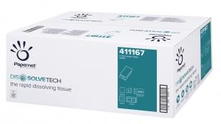 Skládaný papírový ručník ZZ Papernet DissolveTech V-Fold 411167 - dvouvrstvý, 21x24 cm, 100% celulóza, bílý, 3750 ks