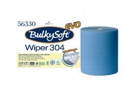 Průmyslová role Bulky Soft Wiper 56330 - dvouvrstvé, 100% celulóza, výška 26 cm, 304 m, 800 útržků, modré, 2 role