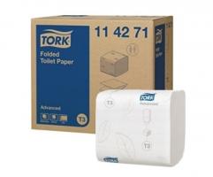 Skládaný toaletní papír Tork Folded 114271 - dvouvrstvý, 11x19 cm, 100% celulóza, bílý, systém T3, 8712 útržků