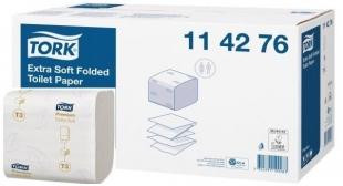 Extra jemný skládaný toaletní papír Tork Folded 114276 - dvouvrstvý, 11x19 cm, 100% celulóza, bílý, systém T3, 7560 útržků