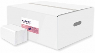Skládaný toaletní papír Harmony Professional Premium - dvouvrstvý, 22x11 cm, 100% celulóza, bílý, 40x250 útržků