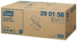 Skládané papírové ručníky Tork Singlefold 290158 - jednovrstvé, 23x23 cm, celulóza TAD, bílé, systém H3, 4500 ks