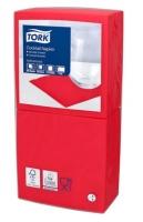 Koktejlové ubrousky Tork 477826 - 24x24 cm, dvouvrstvé, 100% celulóza, červené, 200 ks