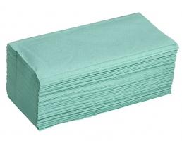 Skládaný papírový ručník ZZ - 23x25 cm, jednovrstvý, recykl, zelený, 5000 ks
