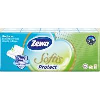 Papírové kapesníčky Zewa Softis Protect - čtyřvrstvé, 100% celulóza, 10 balíčků