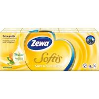 Papírové kapesníčky Zewa Softis Soft & Sensitive - čtyřvrstvé, 100% celulóza, 10 balíčků