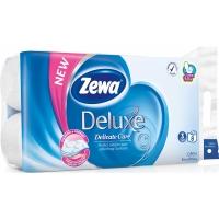 Toaletní papír Zewa Deluxe Delicate Care - třívrstvý, 100% celulóza, čistě bílý, 150 útržků, 8 rolí
