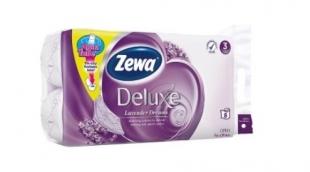 Toaletní papír Zewa Deluxe Lavender Dreams - třívrstvý, 100% celulóza, parfém levandule, 150 útržků, 8 rolí