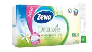 Toaletní papír Zewa Deluxe Jasmine Blossom - třívrstvý, 100% celulóza, parfém jasmín, 150 útržků, 8 rolí
