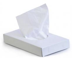 Hygienické mikrotenové sáčky na dámské toalety - v krabičce, 25x14 cm, bílé, 25 ks