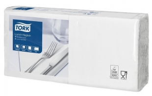 Obědové ubrousky Tork 477149 - 33x33 cm, dvouvrstvé, 100% celulóza, bílé, 200 ks