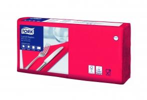 Obědové ubrousky Tork 477210 - 33x33 cm, dvouvrstvé, 100% celulóza, červené, 200 ks