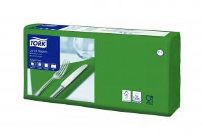 Obědové ubrousky Tork 477214 - 33x33 cm, dvouvrstvé, 100% celulóza, tmavě zelené, 200 ks