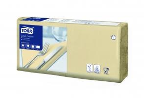 Obědové ubrousky Tork 477206 - 33x33 cm, dvouvrstvé, 100% celulóza, slonová kost, 200 ks