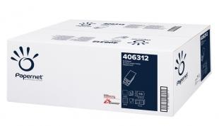 Skládaný papírový ručník Papernet Superior W-Fold 406312 - třívrstvý, 22x32 cm, 100% celulóza, bílý, 2300 ks