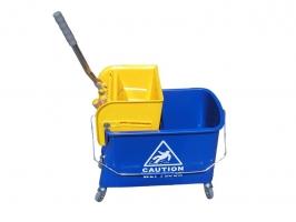 Úklidový vozík Doublebucket 20 l - s přepážkou a ždímačem, plastový