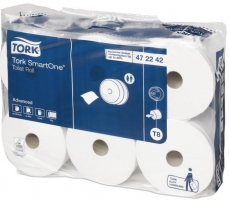 Toaletní papír Tork SmartOne 472242 - dvouvrstvý, bělený recykl, 1150 útržků, systém T8, 6 rolí
