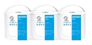 Průmyslová utěrka Papernet Superior Dry Tech 407547 - jednovrstvá, celulóza TAD, 266 m, bílá, 3 role