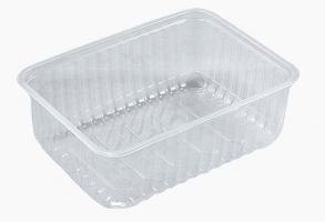 Hranatá miska 1000 ml - plastová, transparentní, 50 ks