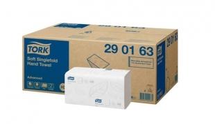 Jemný skládaný papírový ručník Tork Singlefold 290163 - dvouvrstvý, 24,8x23 cm, celulóza+recykl, systém H3, 3750 útržků