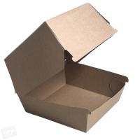 Papírový EKO box na burger - 11x11x9 cm, kraft, hnědý, 50 ks