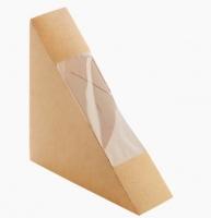 Papírová krabička na sendvič s okénkem EKO - 130x130x50 mm, hnědá, 50 ks