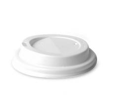 Víčko na kelímek Coffee to go 0,2 l/0,3 l - průměr 80 mm, s dírkou, plastové, bílé, 100 ks